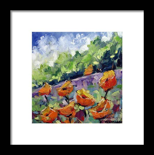 Art Framed Print featuring the painting Orange Poppies by Richard T Pranke