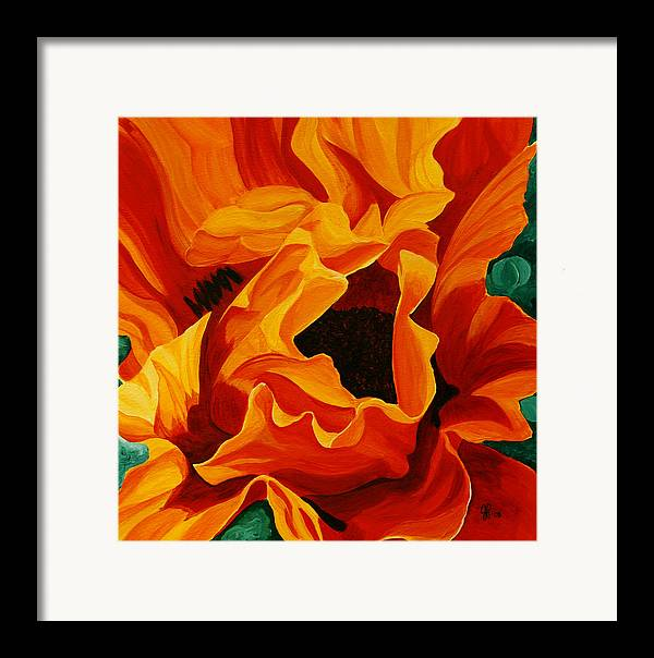 Flower Framed Print featuring the painting Orange Poppy by Julie Pflanzer