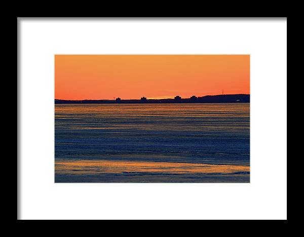 Abstract Framed Print featuring the digital art Orange Sky Above The Ice Of Kempenfelt Bay by Lyle Crump