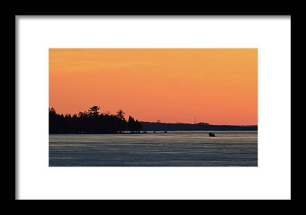 Abstract Framed Print featuring the digital art Orange Sky Above The Trees by Lyle Crump
