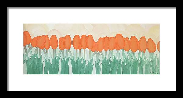 Marinella Owens Framed Print featuring the painting Orange Tulipans by Marinella Owens