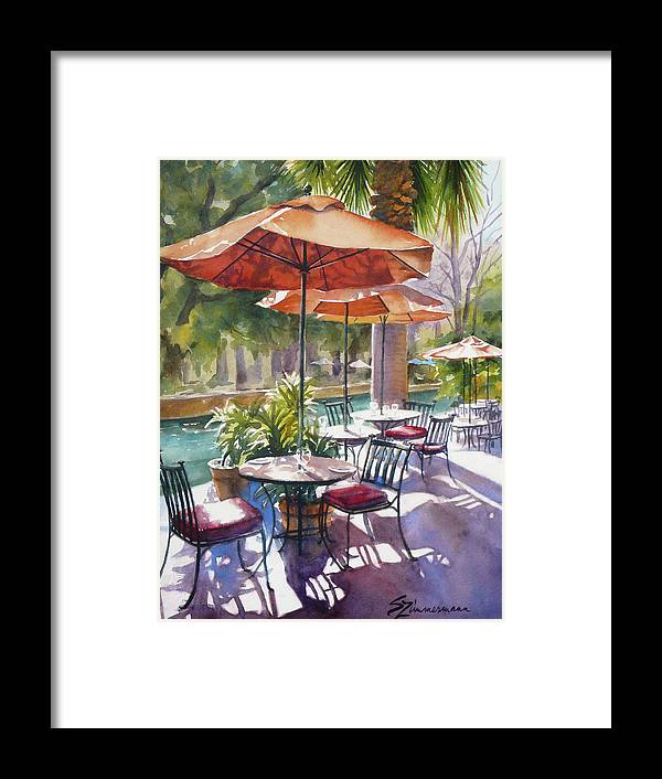 Cafe Framed Print featuring the painting Orange Umbrellas by Sue Zimmermann