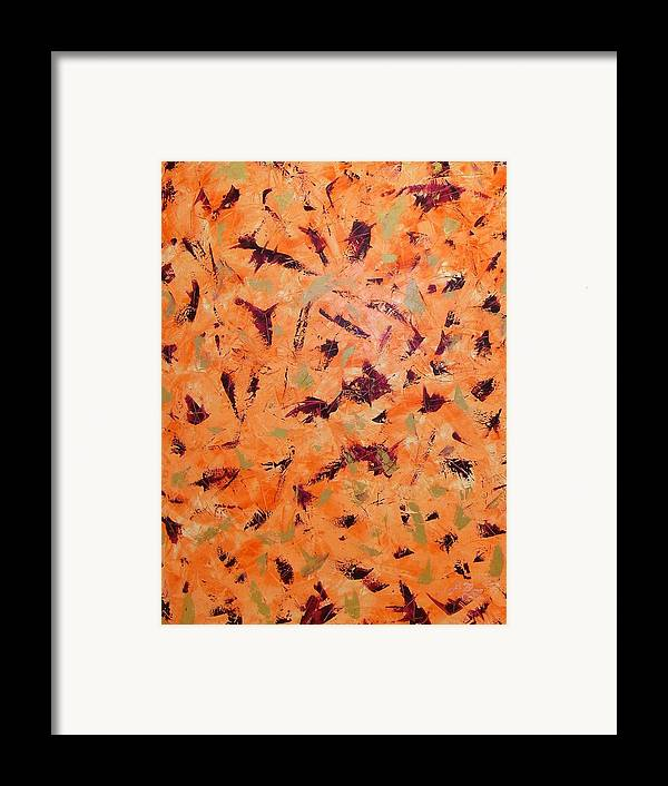 Abstract Framed Print featuring the painting Orange Wall by Guillermo Mason