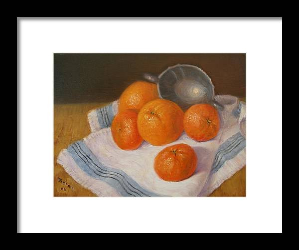 Realism Framed Print featuring the painting Oranges And Tangerines by Donelli DiMaria