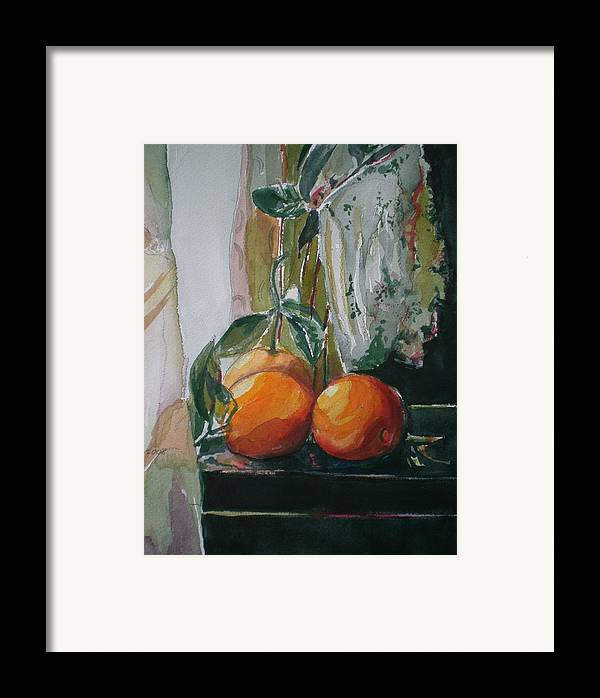 Oranges Framed Print featuring the painting Oranges On Black by Aleksandra Buha