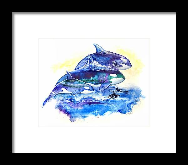Orca Framed Print featuring the painting Orca Fantasy by Sherry Shipley