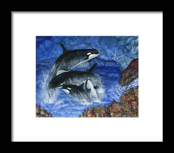 Killer Whales Framed Print featuring the painting Orcas Family Frolicks by Tanna Lee M Wells