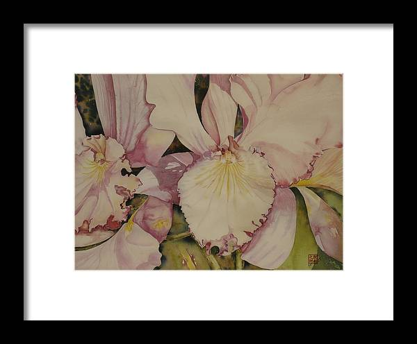 Flowers Framed Print featuring the painting Orchid - Closeup by David Kelly