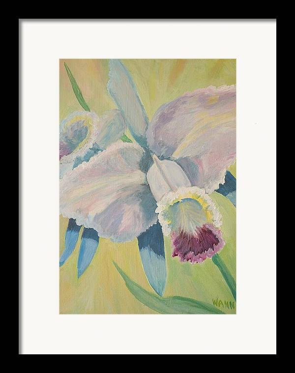 Flower Framed Print featuring the painting Orchid by Anita Wann