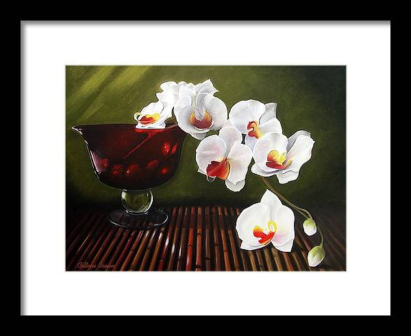 Floral Framed Print featuring the painting Orchid Cascade by Colleen Brown