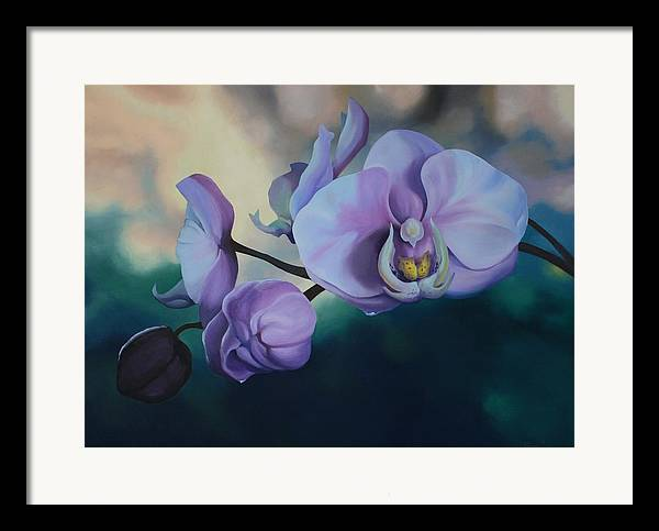 Oil On Canvas Framed Print featuring the painting Orchid Dew by Michael Vires
