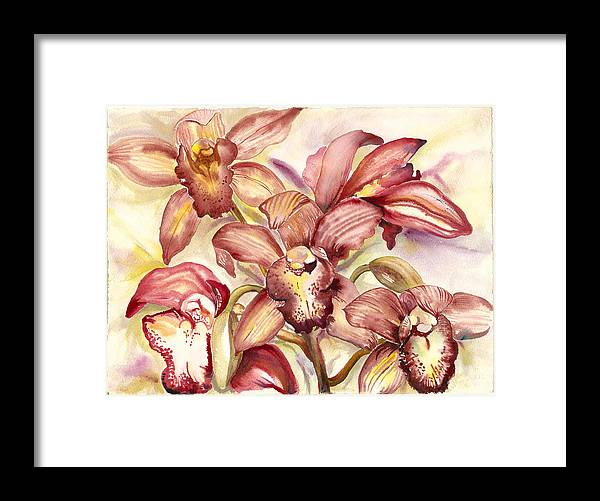 Tropical Orchids Framed Print featuring the painting Orchid Medley by Ileana Carreno