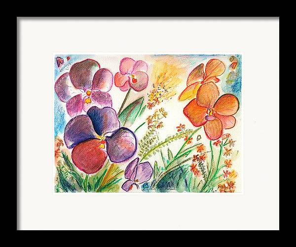 Orchids Framed Print featuring the painting Orchid No. 12 by Julie Richman