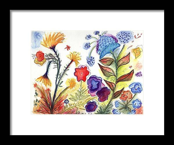 Watercolor Orchids Flowers Nature Drawings Abstract Art Framed Print featuring the painting Orchid No. 23 by Julie Richman