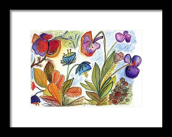 Nature Flowers Orchids Art Painting Plants Fantasy Framed Print featuring the painting Orchid No. 24 by Julie Richman