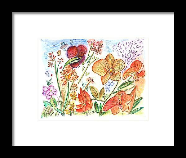 Flowers Framed Print featuring the painting Orchid No. 9 by Julie Richman