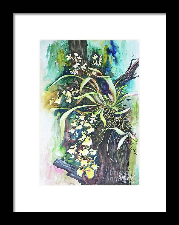 Landscape Framed Print featuring the painting Orchid by Win Min Mg