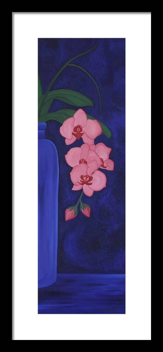 Marinella Owens Framed Print featuring the painting Orchide In A Vase by Marinella Owens