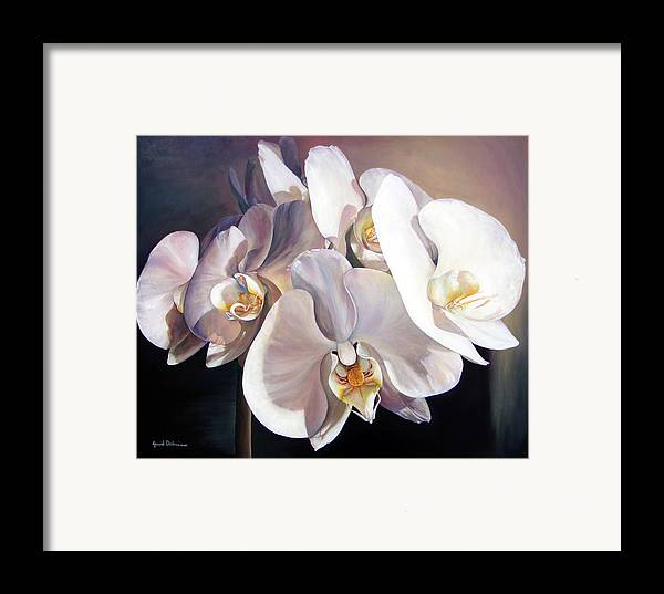 Floral Painting Framed Print featuring the painting Orchidee by Muriel Dolemieux