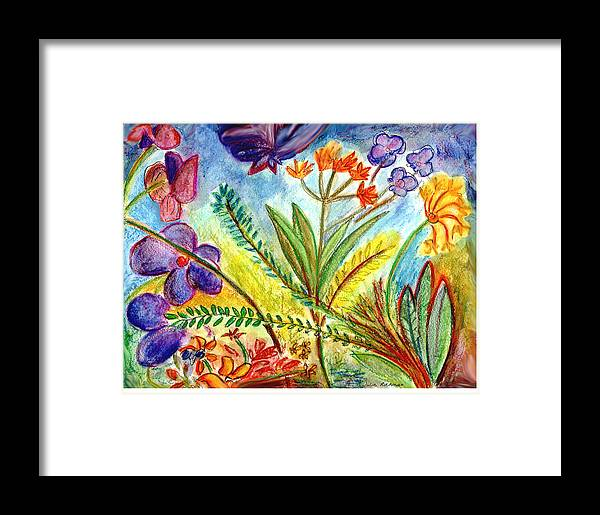 Flowers Framed Print featuring the painting Orchids And More by Julie Richman