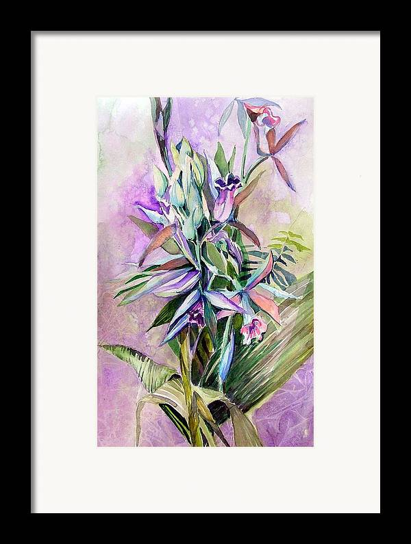 Orchids Framed Print featuring the painting Orchids- Botanicals by Mindy Newman