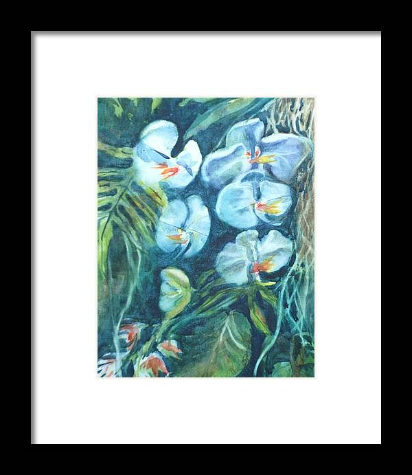 Floral Framed Print featuring the painting Orchids by Donna Pierce-Clark