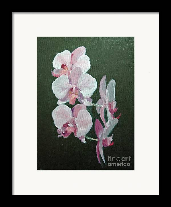 Floral Framed Print featuring the painting Orchids For Didi by Glenn Secrest
