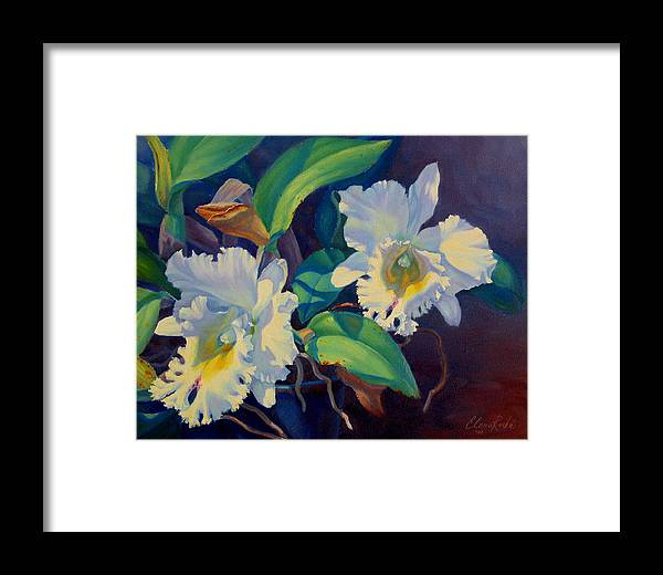 Orchid Framed Print featuring the painting Orchids In A Blue Pot by Elena Roche