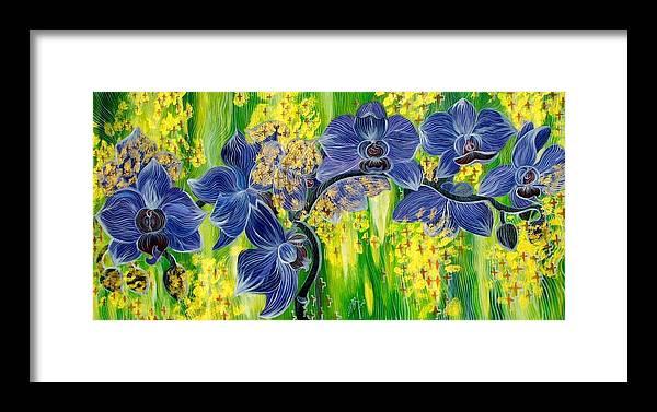 Inga Vereshchagina Framed Print featuring the painting Orchids In A Gold Rain by Inga Vereshchagina
