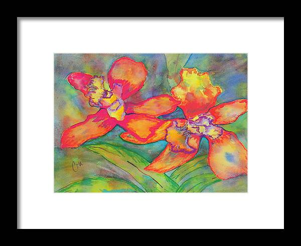 Flowers Framed Print featuring the painting Orchids In Paradise by Cori Solomon