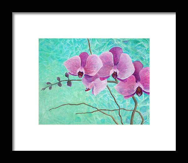 Flower Framed Print featuring the painting Orchids In Pink by Arlissa Vaughn