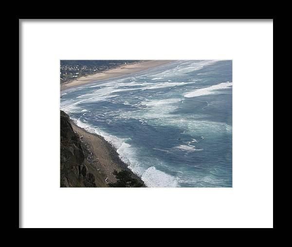 Framed Print featuring the digital art Oregon Coastline by Barb Morton