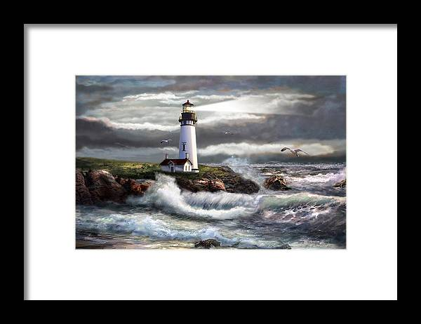 Evening Seascape Framed Print featuring the painting Oregon Lighthouse Beam of hope by Regina Femrite