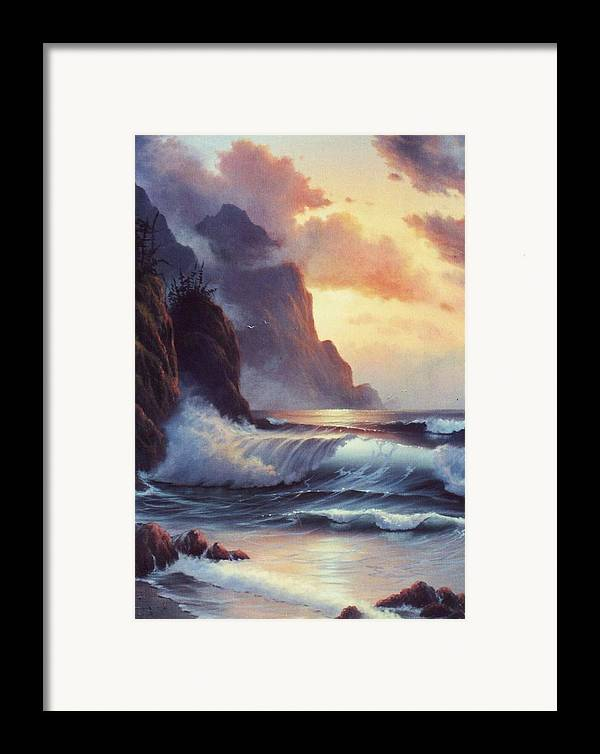 Sunset Of Oregon Coast  Seascape Framed Print featuring the painting Oregon Sunset by Lynne Parker