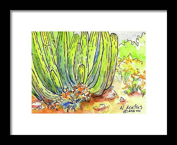 Landscape Framed Print featuring the painting Organ Pipe by Nancy Matus