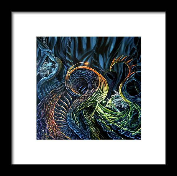 Organic Framed Print featuring the painting Organic Underworld by Todo Brennan