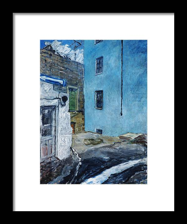 Sardinia House Blue Street Old Framed Print featuring the painting Orgosolo by Joan De Bot