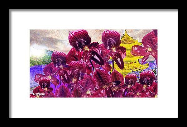 Far East Framed Print featuring the digital art Oriental Orchid Garden by Seth Weaver