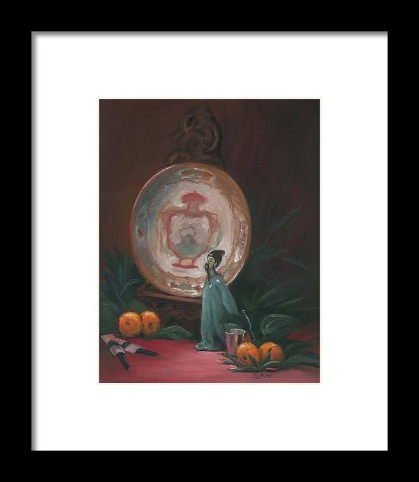 Still Life Framed Print featuring the painting Oriental Plate by Liz Rose