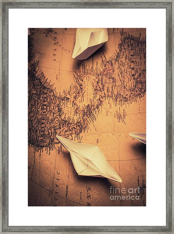 World Map Framed Wall Art.Origami Boats On World Map Framed Print By Jorgo Photography Wall