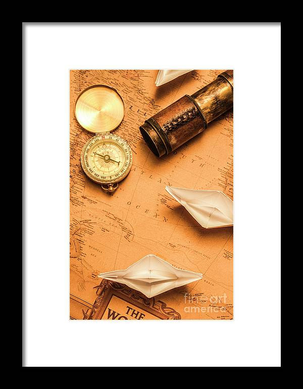 Origami Paper Boats On A Voyage Of Exploration Framed Print By Jorgo