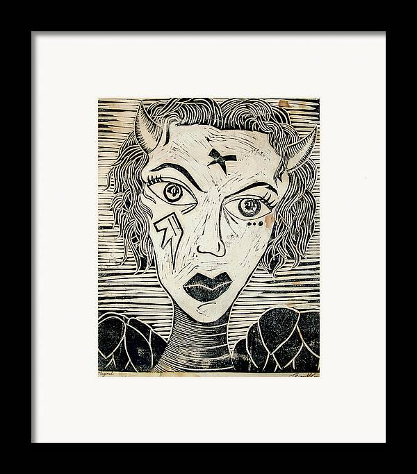 Block Print Framed Print featuring the print Original Devil Block Print by Thomas Valentine