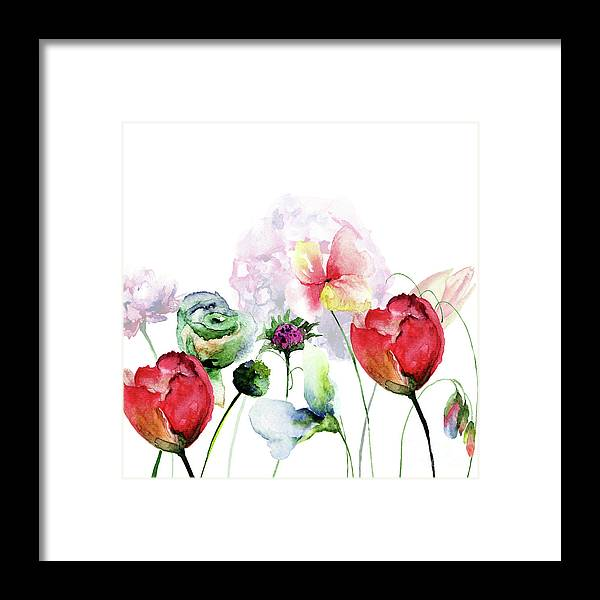 Card Framed Print featuring the painting Original Floral Background With Flowers by Regina Jershova