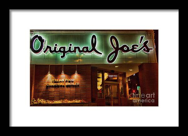 Architecture Framed Print featuring the photograph Original Joe's Night View by Chuck Kuhn