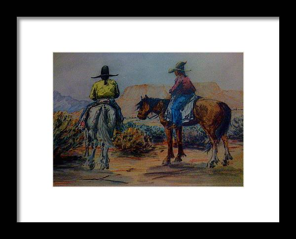 Rural Indians Framed Print featuring the painting Original Western Artwork 23 by Smart Healthy Life