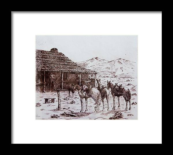 Horse Framed Print featuring the drawing Original Western Artwork 5 by Smart Healthy Life
