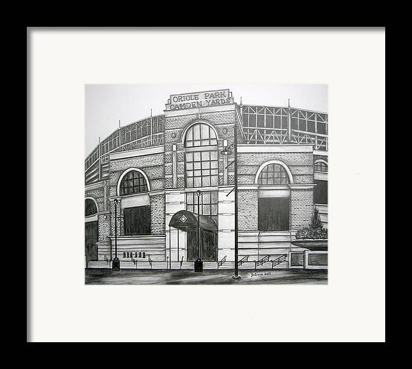 Camden Yards Framed Print featuring the drawing Oriole Park Camden Yards by Juliana Dube