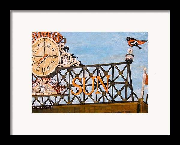 Orioles Framed Print featuring the painting Orioles Scoreboard At Sunset by John Schuller