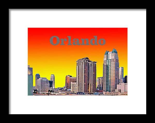 Orlando Framed Print featuring the digital art Orlando Skyline by Michael Chatman