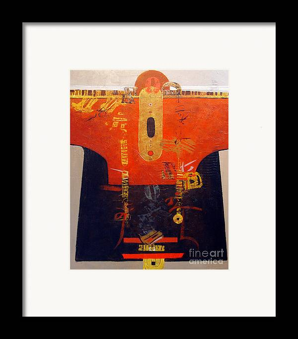Abstract Framed Print featuring the painting Ornamental Kimono by Dale Witherow